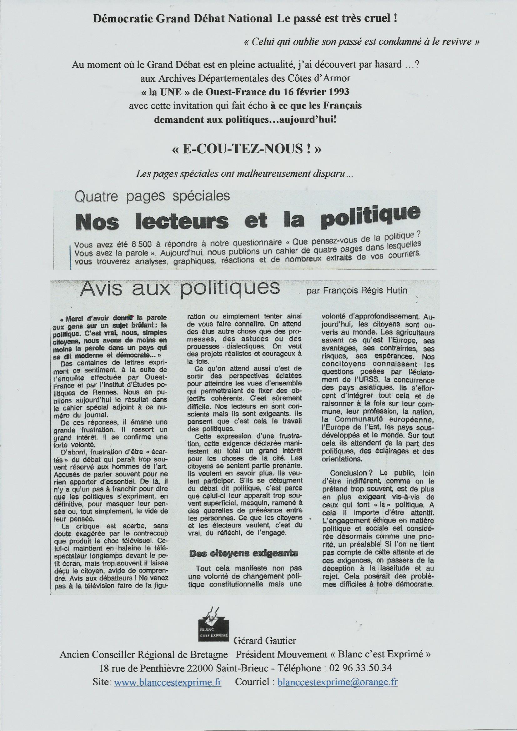BCE DEMOCRATIE 1993 Enquête O F et IEP RENNES