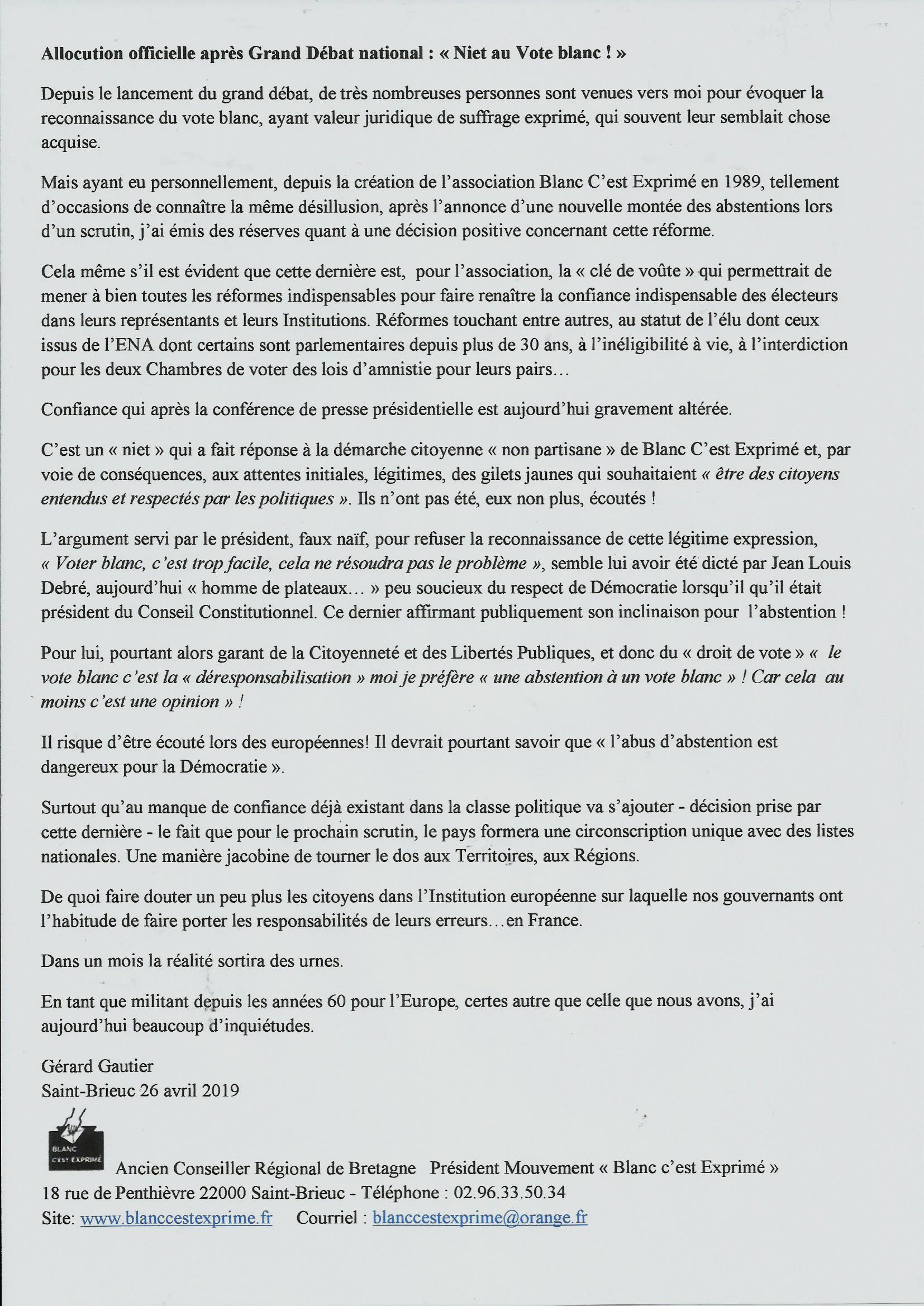 BCE DEMOCRATIE 2019 président MACRON Niet Vote Blanc