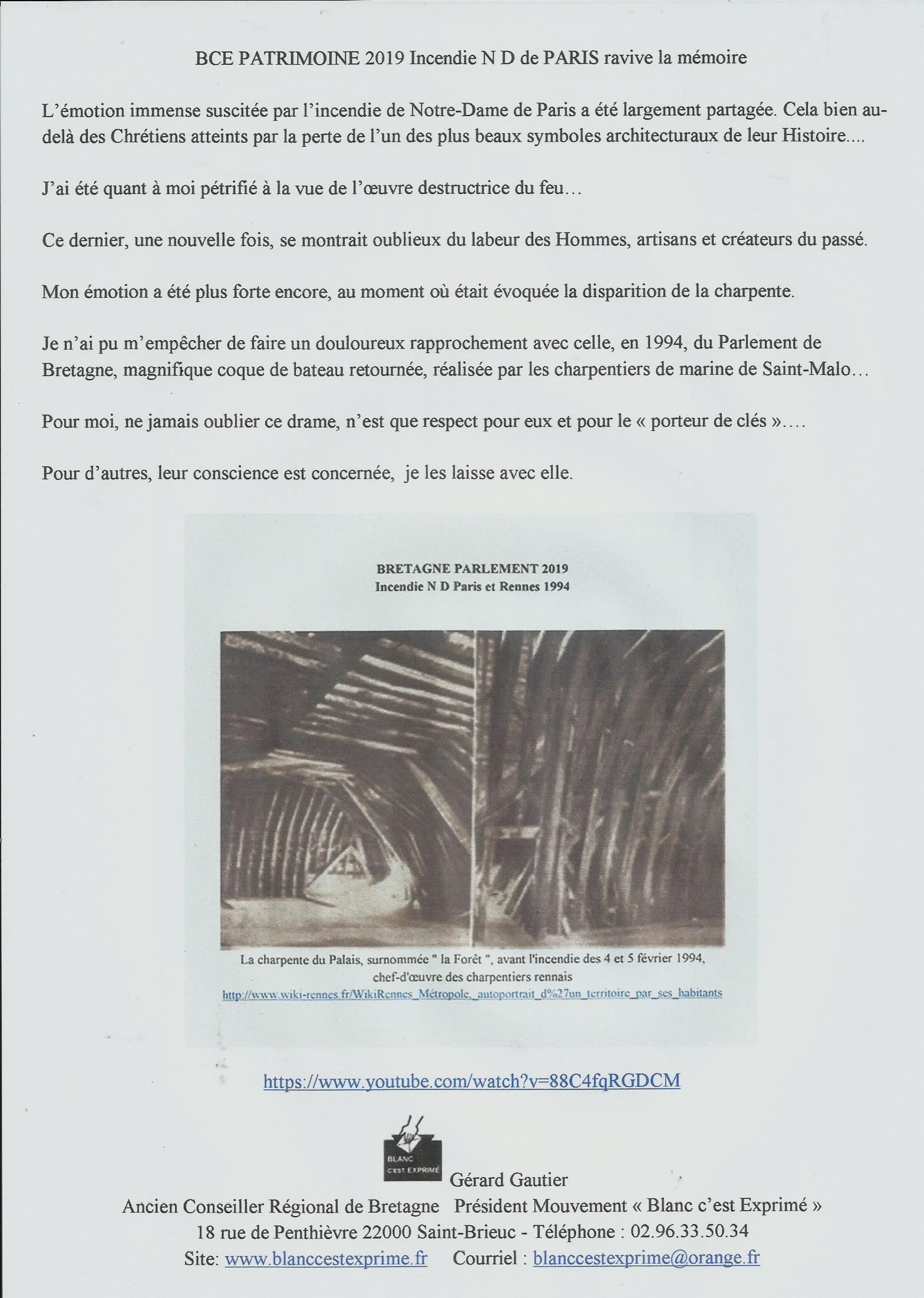 bce patrimoine 2019 INCENDIE N D de PARIS ravive la mémoire