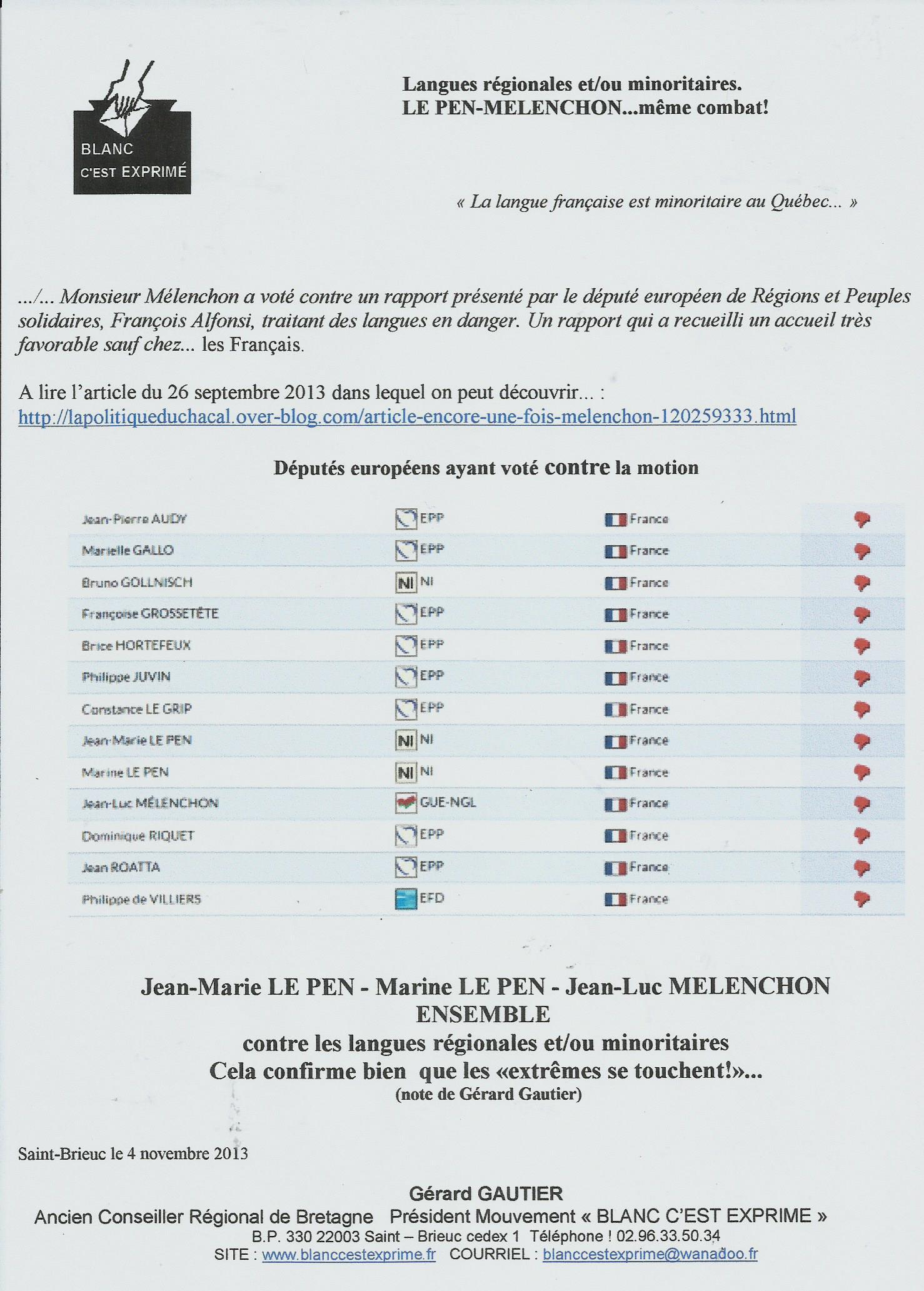 BCE LANGUES REGIONALES 2013 LE PEN MELENCHON