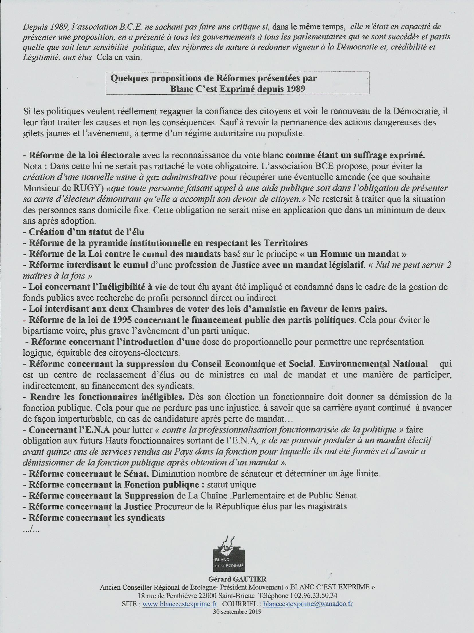 BCE DEMOCRATIE 2019 Réformes présentées depuis 1989