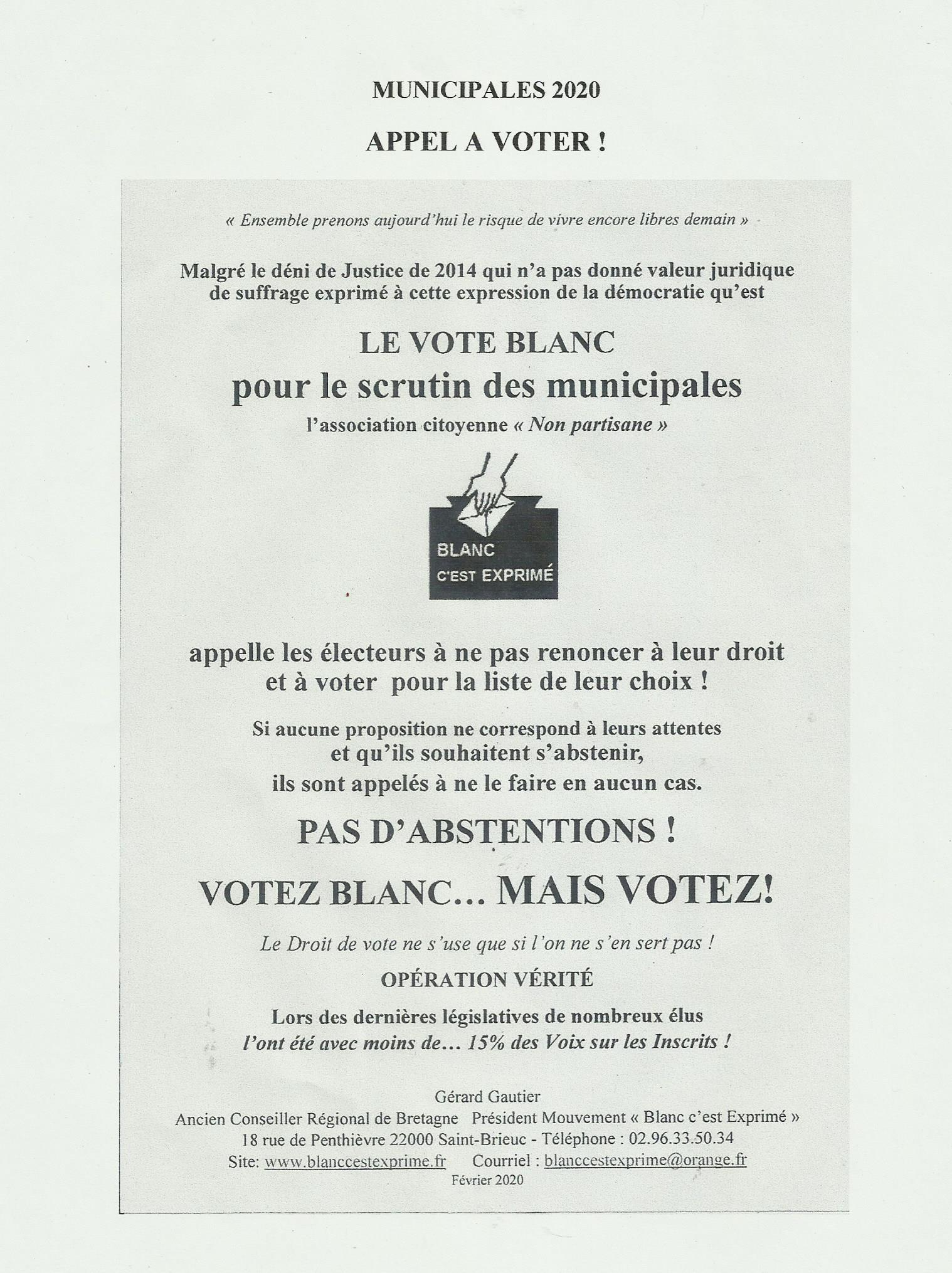 BCE Municipales 2020 Appel à Voter A