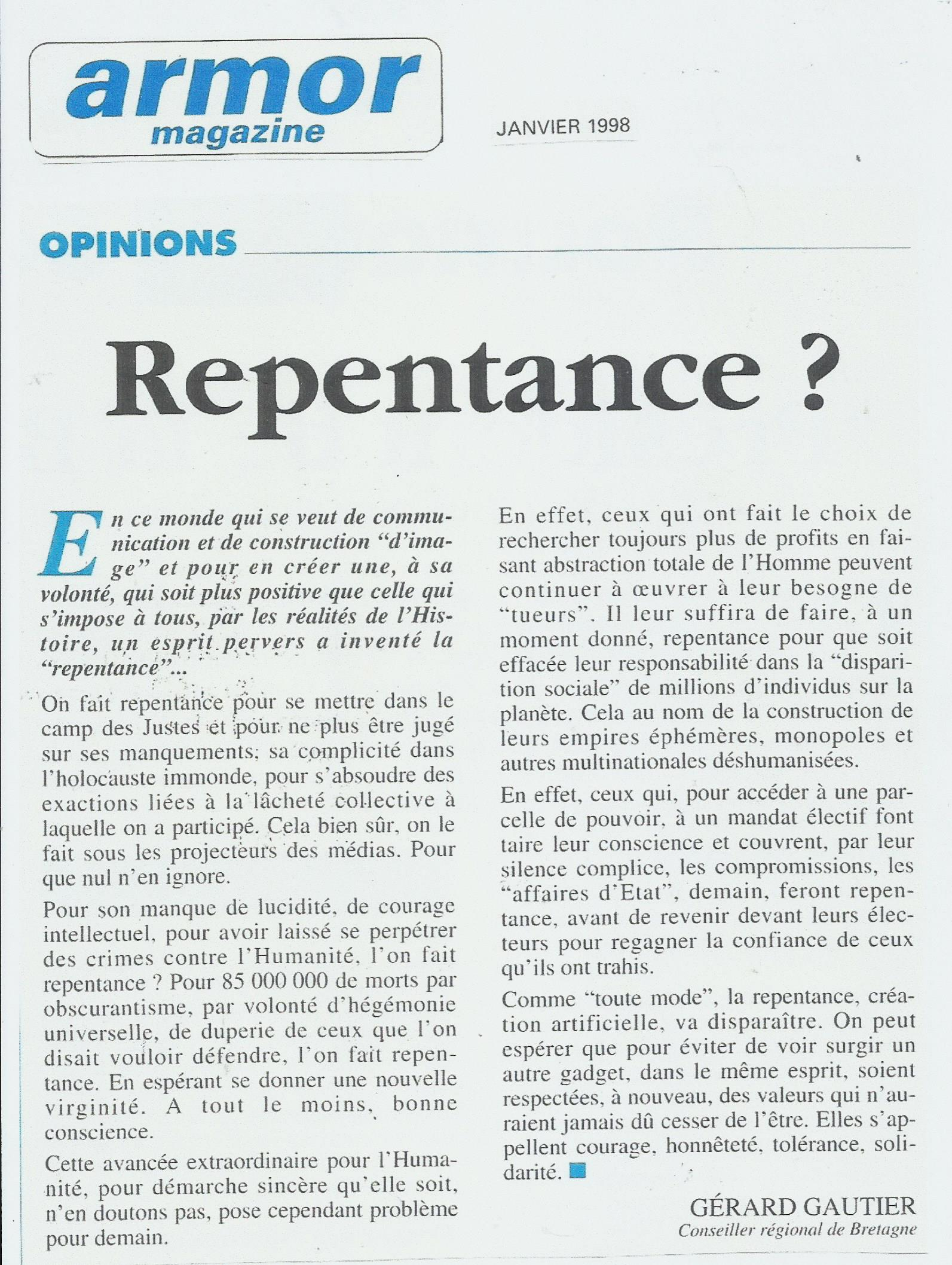 BCE Démocratie 1998 Armor Magazine Repentance