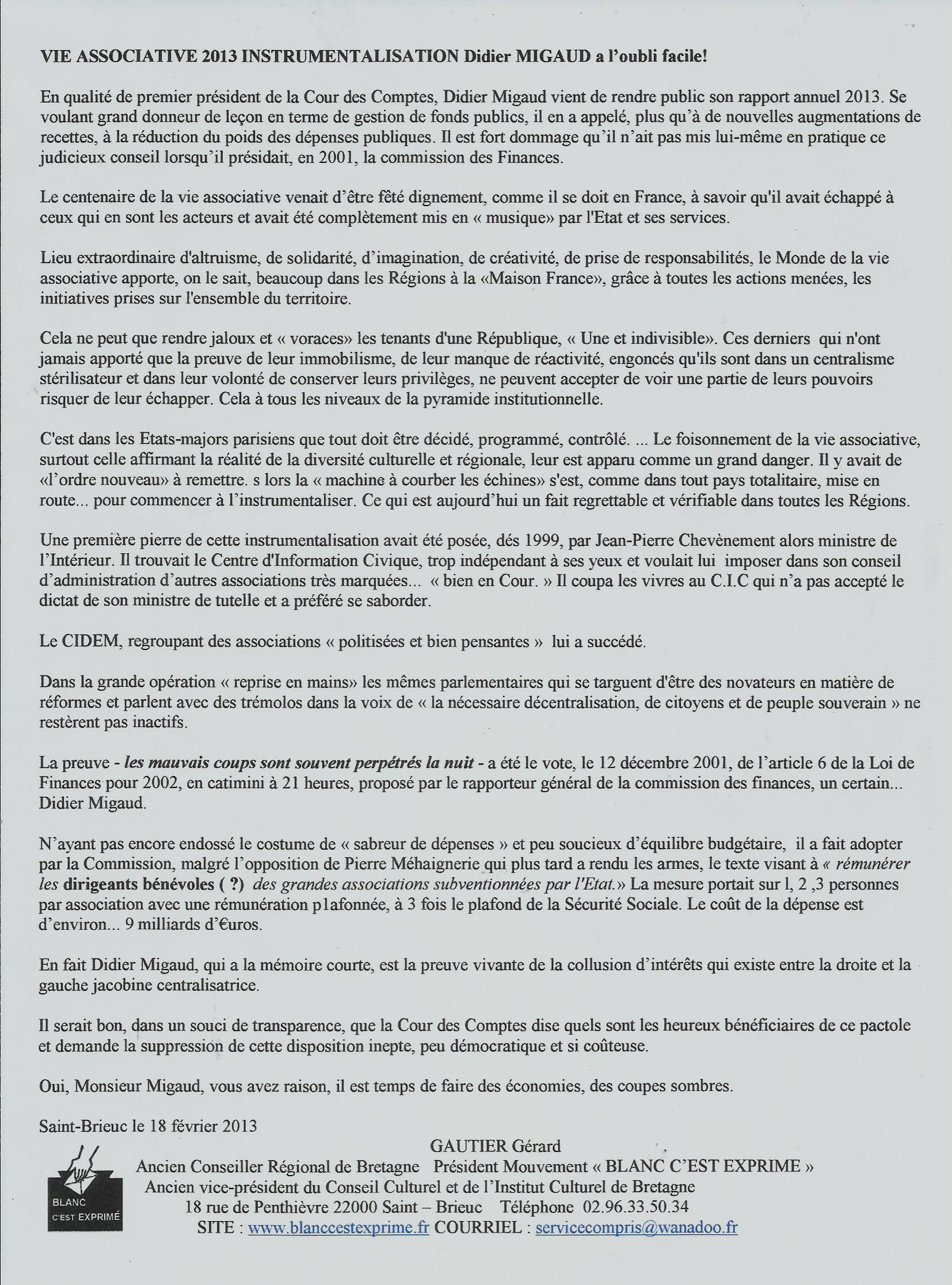 BCE Démocratie 2013 Didier Migaud a l oubli facile