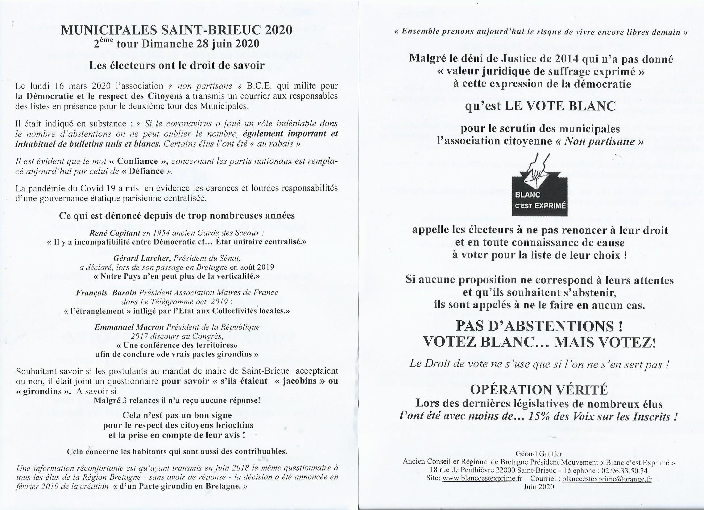 BCE Démocratie 2020 Muncipales Saint Brieuc Tour 2