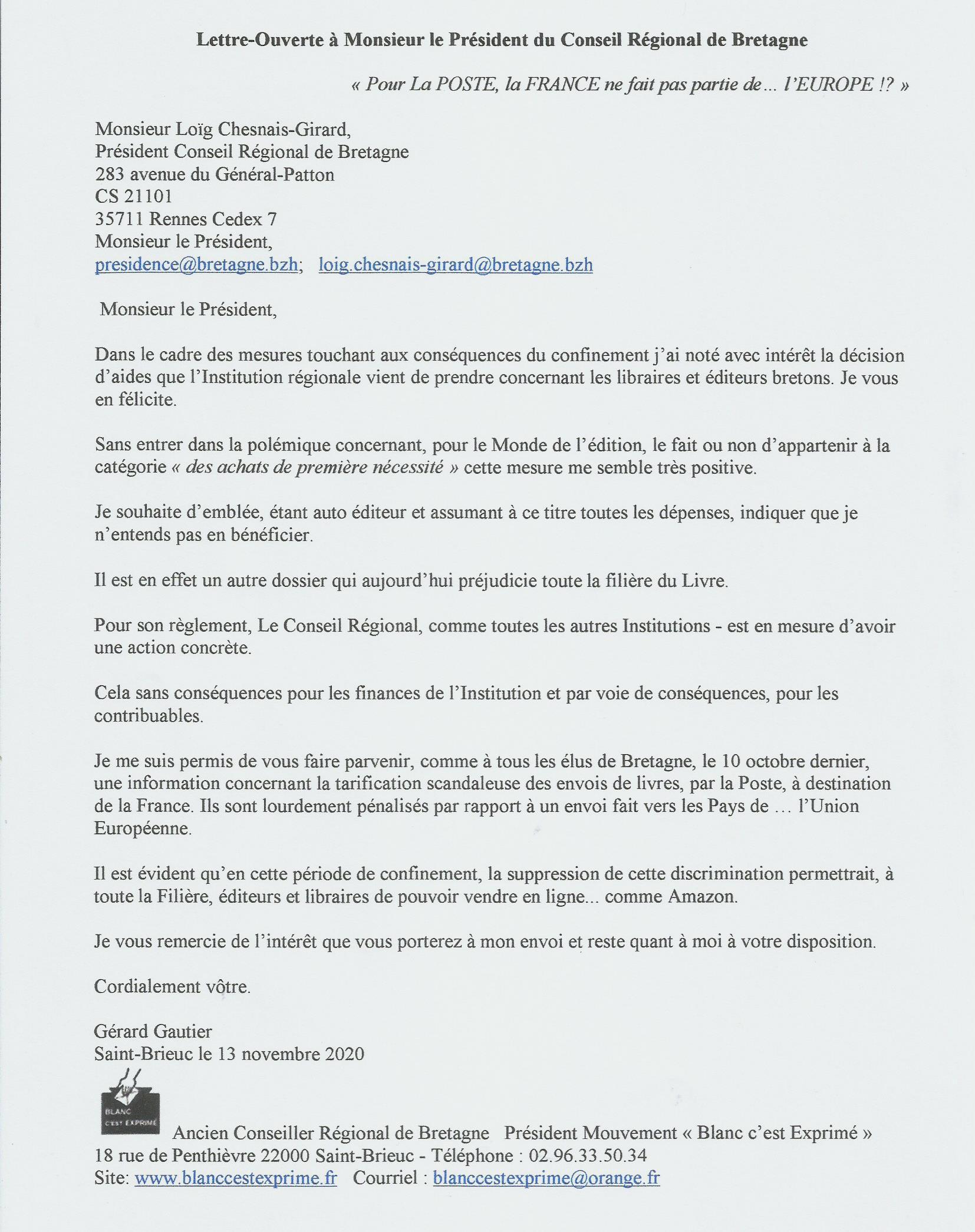 ECHARPE LA POSTE 2020 Lettre Président C R Bretagne