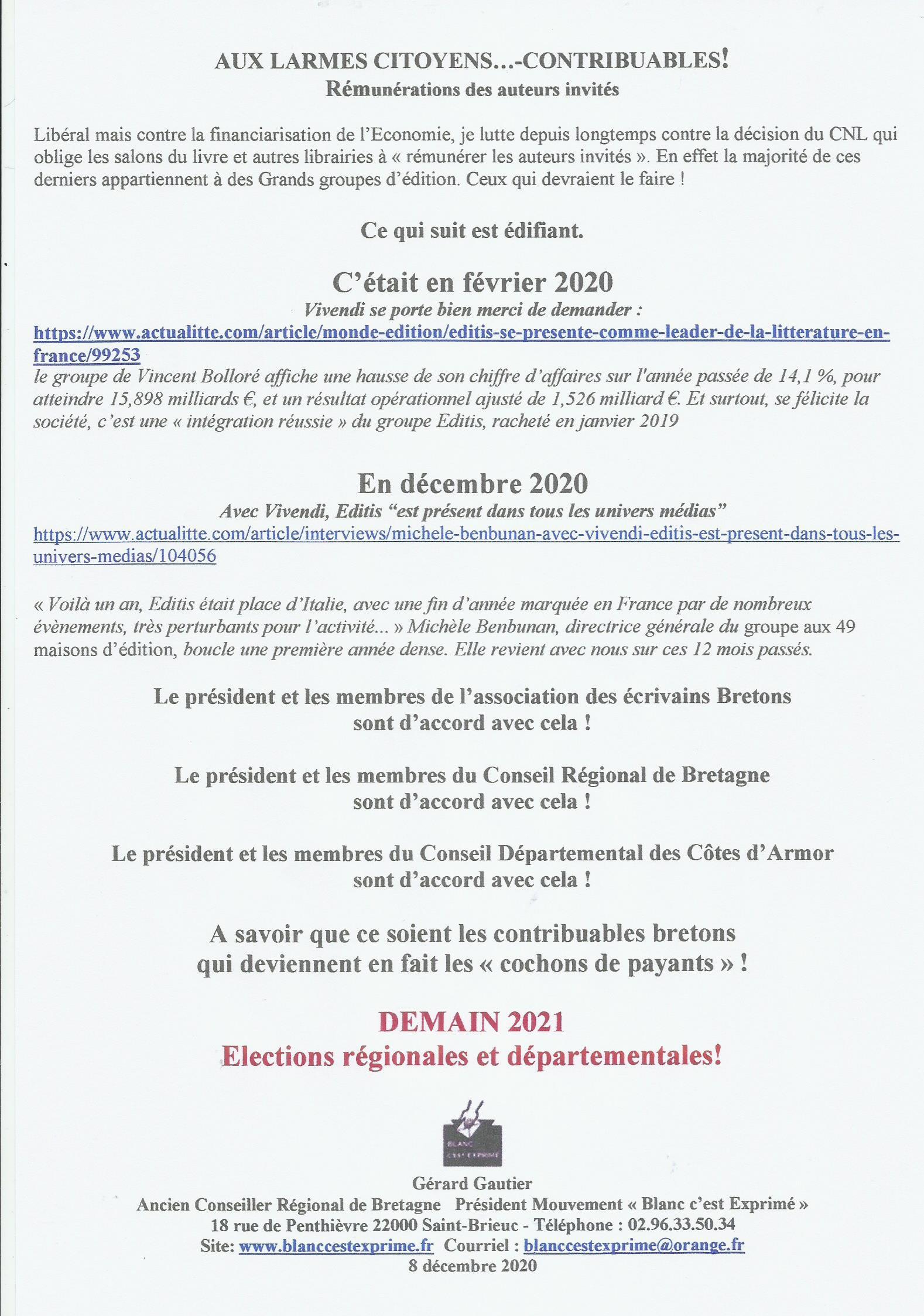 ECHARPE Rémunérations 2020 VIVENDI EDITIS