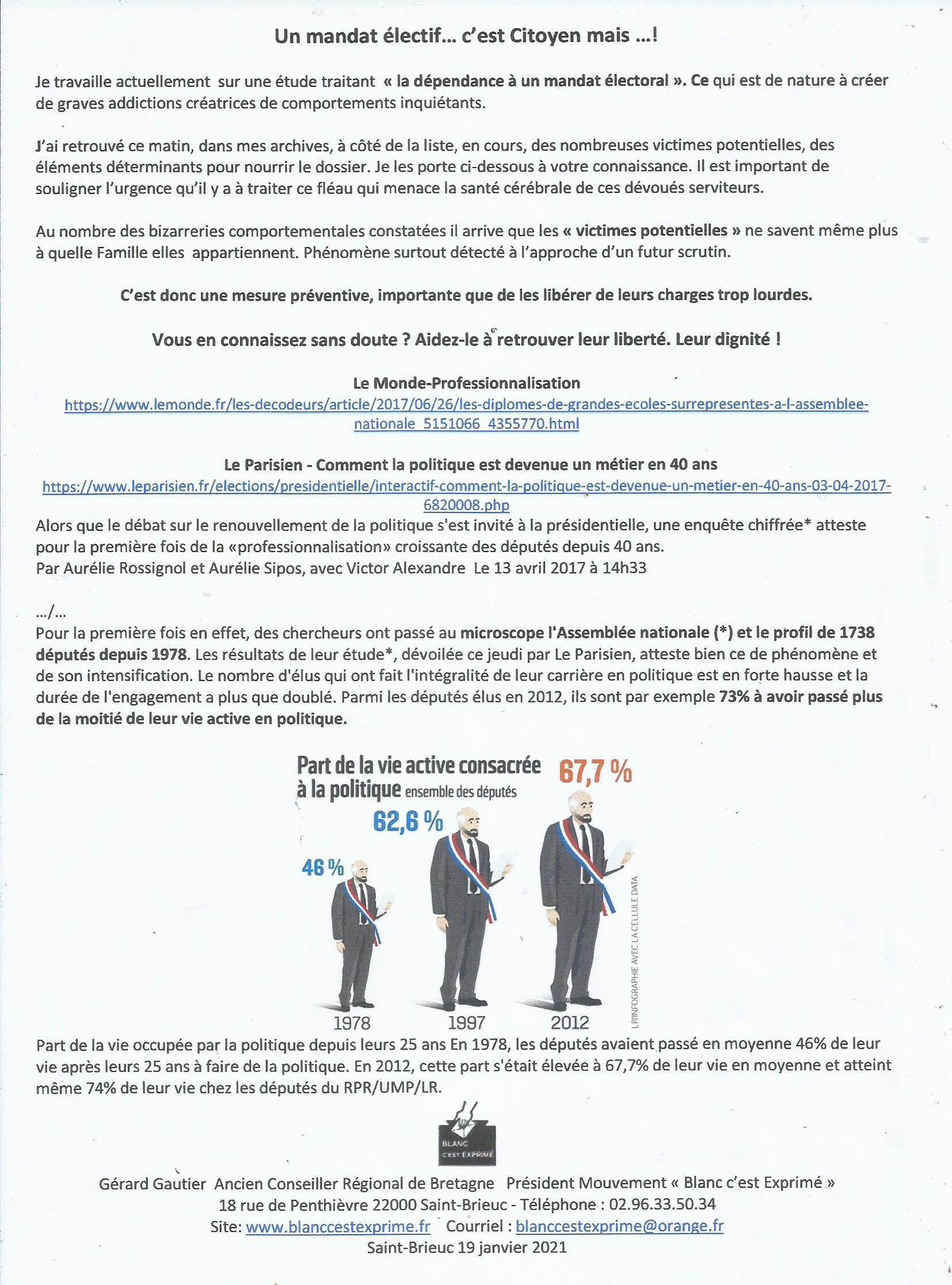 BCE Démocratie 2021 Un mandat électif
