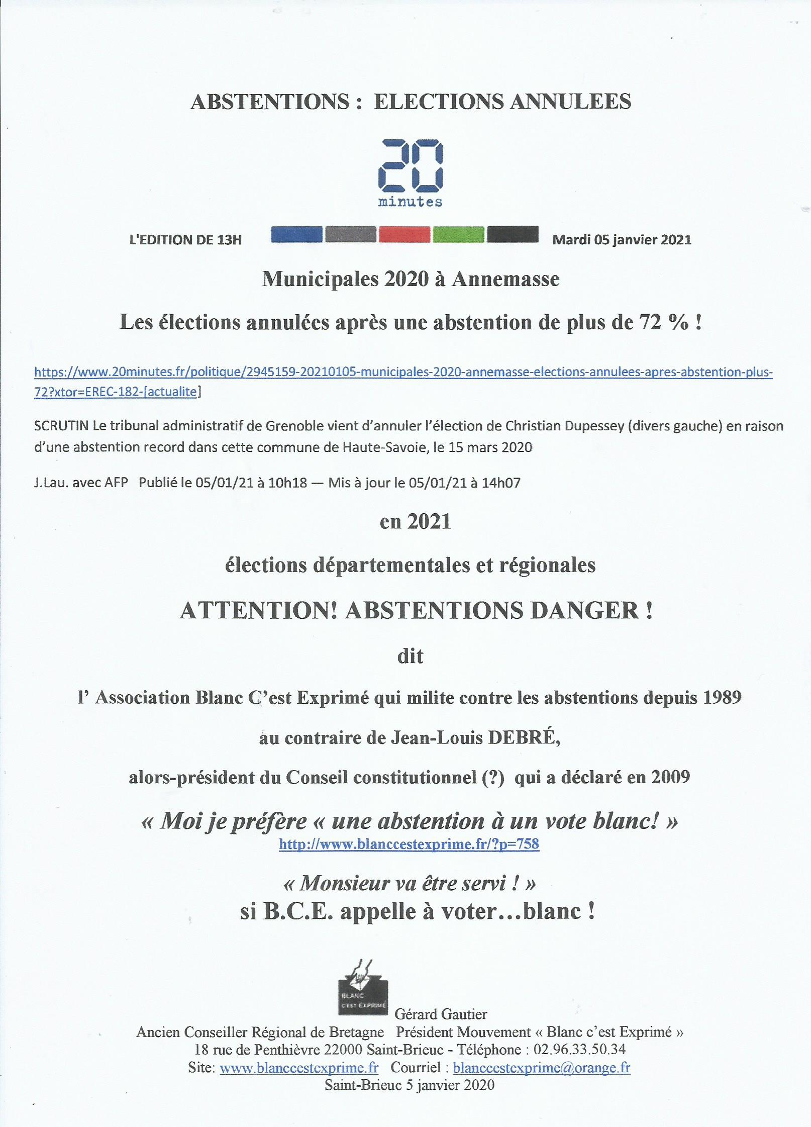 BCE Vote Blanc  2021 Abstentions Election annulée